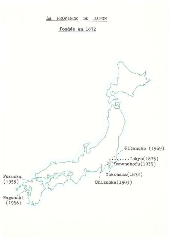 Carte des implantations de la congrégation au Japon