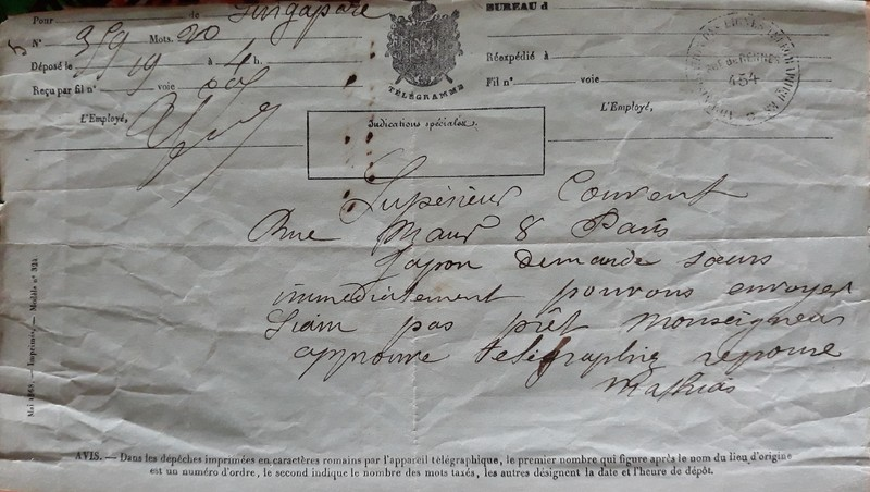 Télégramme envoyé par Mère Sainte Mathilde à Mère de Faudoas au sujet de la fondation d'une communauté au Japon