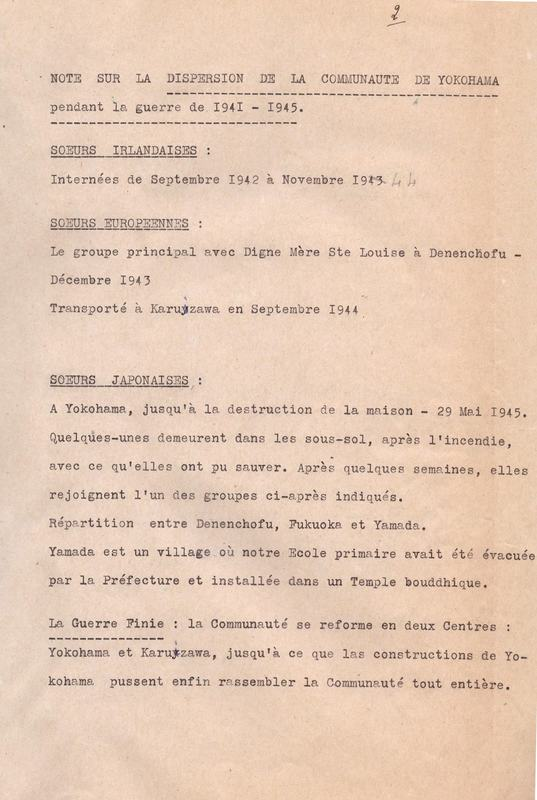 Note sur la dispersion de la communauté de Yokohama pendant la guerre de 1941-1945