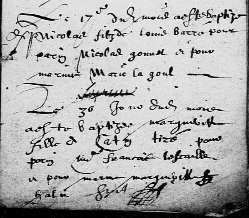 Acte de baptême de Nicolas Barré
