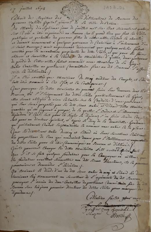 Extrait du registre de l'Hôpital général de Rouen concernant le rattachement des Maîtresses des Écoles Charitables à cette institution