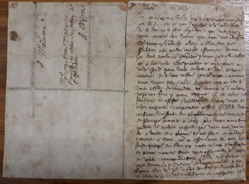 Lettre de Nicolas Barré à Sœur Le Teinturier