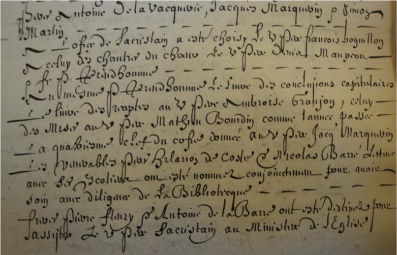 Nomination de Nicolas Barré comme bibliothécaire du couvent de la place Royale