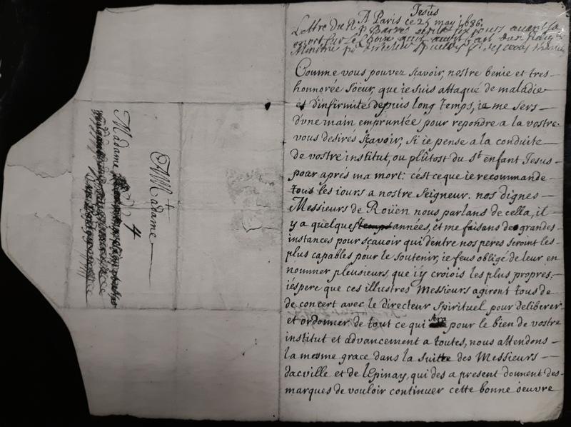 Lettre dictée par Nicolas Barré durant sa maladie