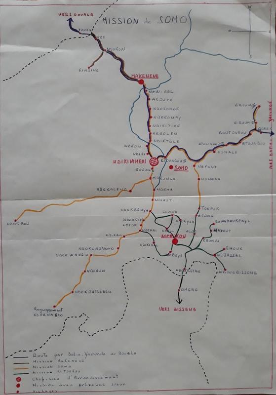 Carte manuscrite de la mission de Somo
