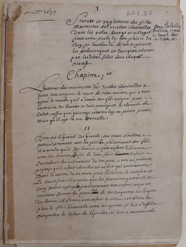 Statuts et règlements de l'Institut des Maîtresses des Écoles Charitables corrigés de la main de Nicolas Barré