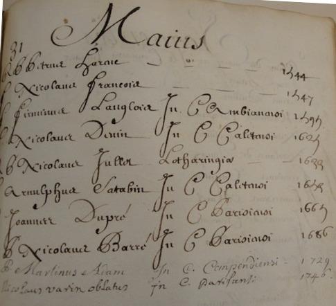 Mention de Nicolas Barré dans le nécrologe des Minimes de France