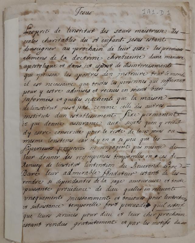 Engagement signé par les premières Sœurs